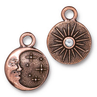 Starry Night Charm with SS9 Crystal, Antiqued Copper Plate, 6 per Pack