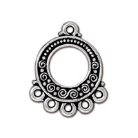 Spirals & Beads 5-1 Link, Antiqued Silver Plate, 20 per Pack