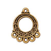 Spirals & Beads 5-1 Link, Antiqued Gold Plate, 20 per Pack
