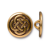 Celtic Knot Button, Antiqued Gold Plate, 20 per Pack