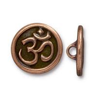 Om Button, Antiqued Copper Plate, 20 per Pack