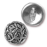 Bamboo Button, Antiqued Silver Plate, 20 per Pack
