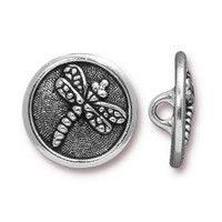 Dragonfly Button, Antiqued Silver Plate, 20 per Pack