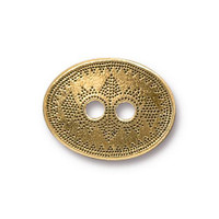 Tribal Button, Antiqued Gold Plate, 20 per Pack