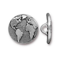 Earth Button, Antiqued Silver Plate, 20 per Pack