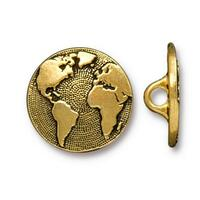 Earth Button, Antiqued Gold Plate, 20 per Pack
