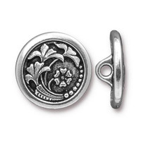 Czech Flower Button, Antiqued Silver Plate, 20 per Pack