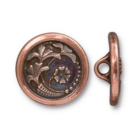 Czech Flower Button, Antiqued Copper Plate, 20 per Pack