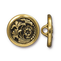 Czech Flower Button, Antiqued Gold Plate, 20 per Pack