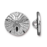 Sand Dollar Button, Antiqued Silver Plate, 20 per Pack