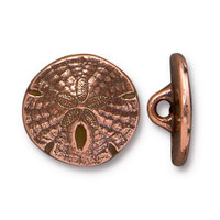 Sand Dollar Button, Antiqued Copper Plate, 20 per Pack