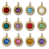 Birthstone Mix Stepped Charm, Gold Plate, 36 per Pack