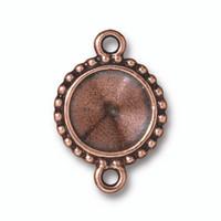 Beaded 12mm Rivoli Bezel Link, Antiqued Copper Plate, 20 per Pack