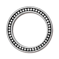 Beaded Ring 1 inch, Antiqued Silver Plate, 20 per Pack