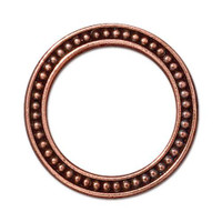 Beaded Ring 1 inch, Antiqued Copper Plate, 20 per Pack