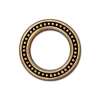 Beaded Ring 3/4 inch, Antiqued Gold Plate, 20 per Pack