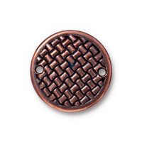 Clearance: Woven Disk Link 3/4 inch, Antiqued Copper Plate, 20 per Pack
