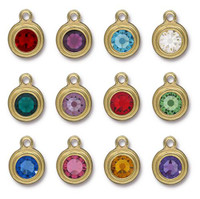 Birthstone Mix, Stepped Drop, Gold Plate, 36 per Pack