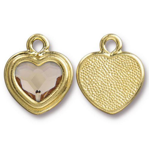 Clearance: Lt Silk Crystal Stepped Heart Charm, Gold Plate, 6 per Pack