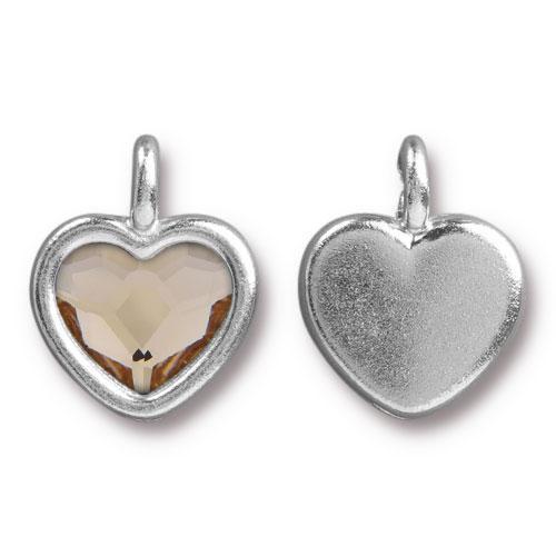 Clearance: Lt Silk Crystal Heart Charm, Rhodium Plated, 6 per Pack