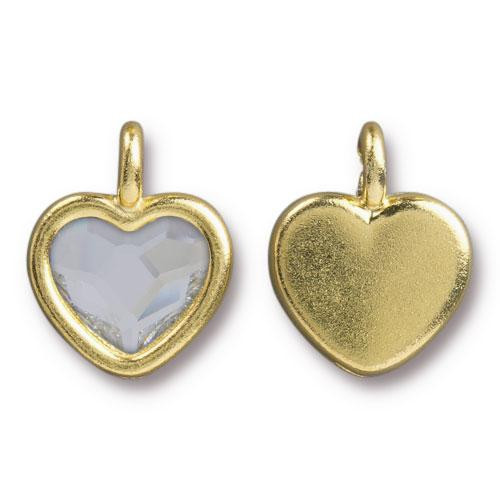 Clearance: Clear Crystal Heart Charm, Gold Plate, 6 per Pack