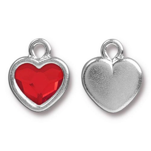 Heart Drop with Swarovski ® 2808 10mm Lt Siam, Rhodium Plated, 6 per Pack