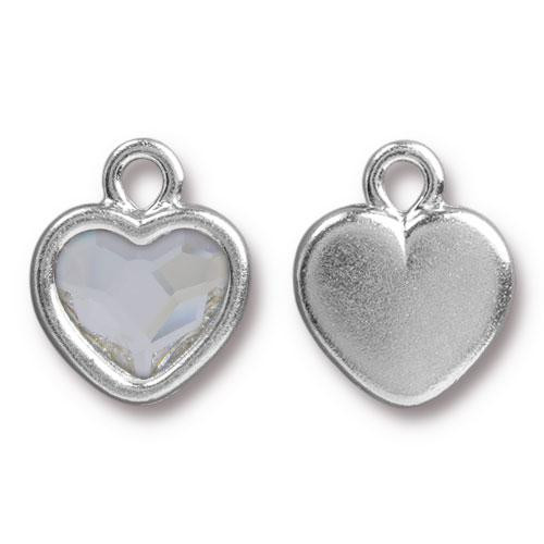Heart Drop with Swarovski ® 2808 10mm Crystal, Rhodium Plated, 6 per Pack