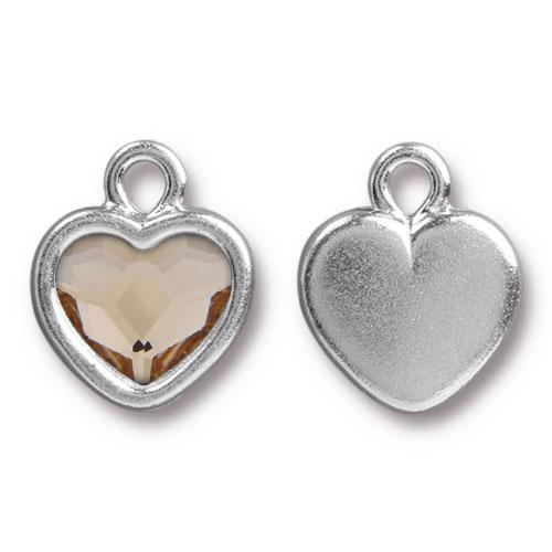 Clearance: Lt Silk Crystal Heart Drop, Rhodium Plated, 6 per Pack