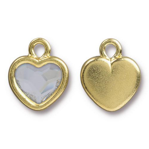 Heart Drop with Swarovski ® 2808 10mm Lt Crystal, Gold Plate, 6 per Pack