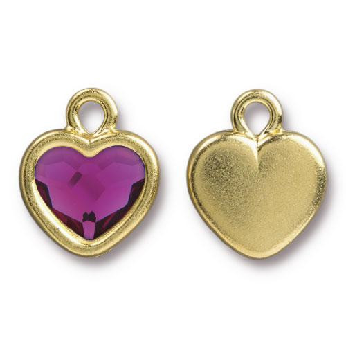 Clearance: Fuchsia Crystal Heart Drop, Gold Plate, 6 per Pack