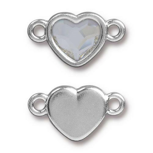 Clearance: Heart Link with Swarovski ® 2808 10mm Crystal, Rhodium Plated, 6 per Pack