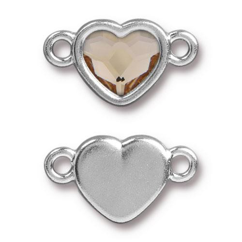Clearance: Heart Link with Swarovski ® 2808 10mm Lt Silk, Rhodium Plated, 6 per Pack