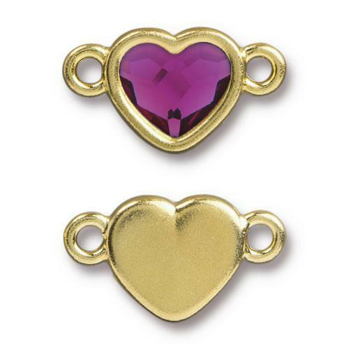 Clearance: Heart Link with Swarovski ® 2808 10mm Fuchsia, Gold Plate, 6 per Pack