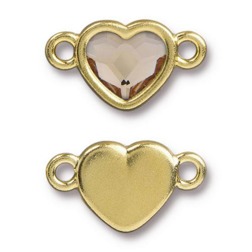 Clearance: Heart Link with Crystal 2808 10mm Lt Silk, Gold Plate, 6 per Pack