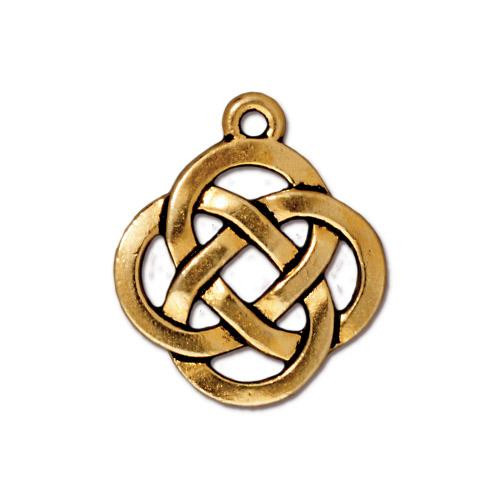 Open Round Pendant, Antiqued Gold Plate, 20 per Pack