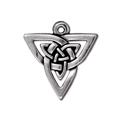 Open Triangle Pendant, Antiqued Silver Plate, 20 per Pack