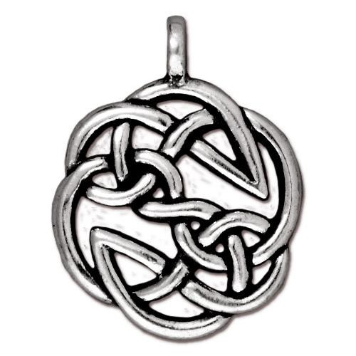 Open Knot Pendant, Antiqued Silver Plate, 10 per Pack