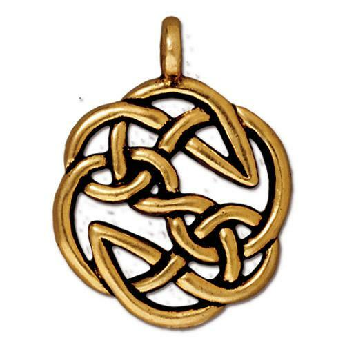 Open Knot Pendant, Antiqued Gold Plate, 10 per Pack