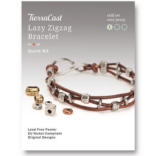 Lazy Zigzag Bracelet Kit, Antiqued Silver Plate, 1 per Pack