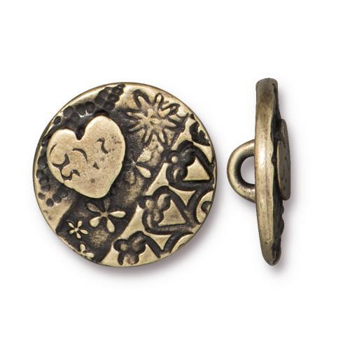Amor Round Button, Oxidized Brass Plate, 20 per Pack