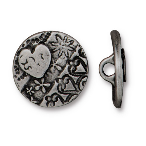 Amor Round Button, Antiqued Pewter, 20 per Pack