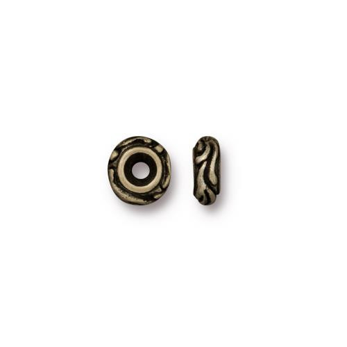 Small Woodland Bead, Oxidized Brass Plate, 50 per Pack