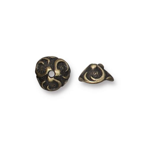 Lily 8mm Bead Cap, Oxidized Brass Plate, 20 per Pack