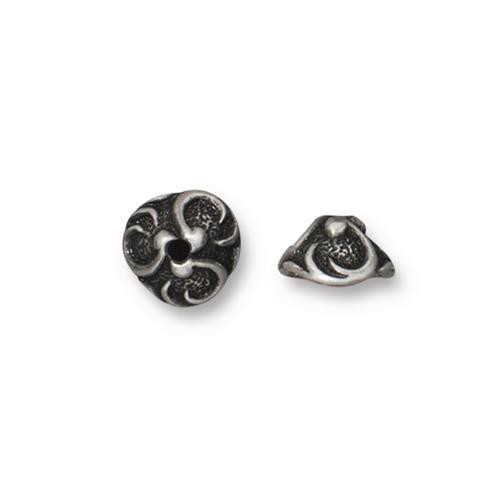 Lily 8mm Bead Cap, Antiqued Pewter, 20 per Pack