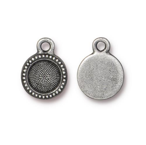 SS34 Beaded Bezel Drop, Antiqued Pewter, 20 per Pack