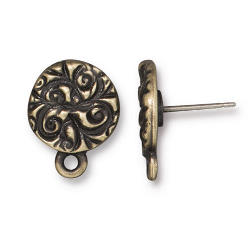 Jardin Earring Post, Oxidized Brass Plate, 10 per Pack