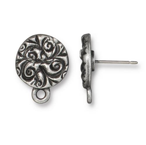 Jardin Earring Post, Antiqued Pewter, 10 per Pack