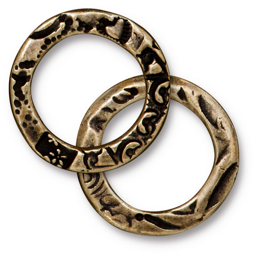 Flora Ring Large, Oxidized Brass Plate, 20 per Pack