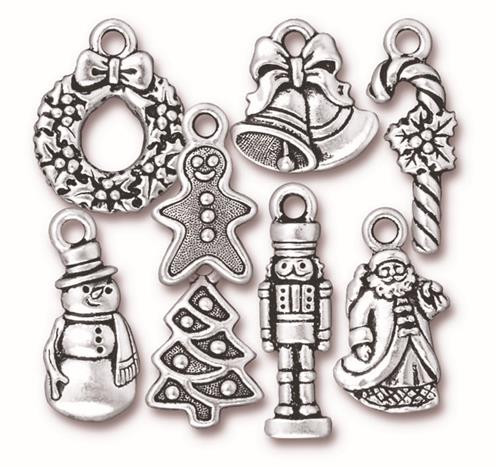 Eight Piece Collectable Christmas Charm Mix, Antiqued Silver Plate, 80 per Pack