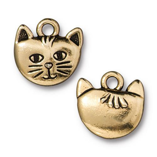 Whiskers Charm, Antiqued Gold Plate, 20 per Pack